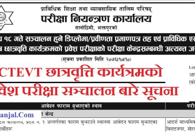 CTEVT Scholarship Entrance Exam Center Notice ( TSLC, Diploma & PCL Level Entrance Exam)