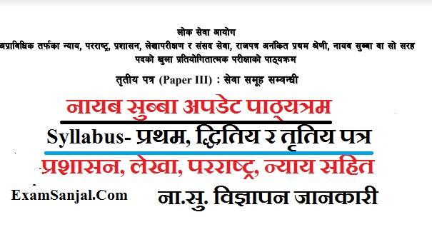 Nayab Subba (Na Su) update Syllabus with Third Paper Na Su & Vacancy Notice