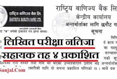 RBB written Result of Cash Nagad 4th Level ( Rastriya Banijya Bank Limited published exam result of 4th Level)