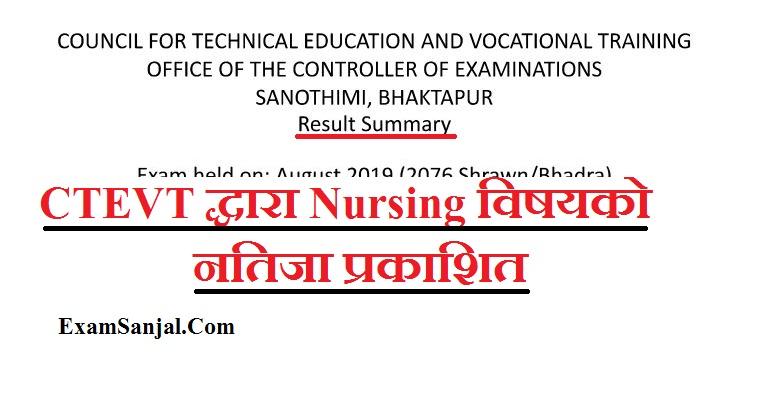 Result of Nursing 2nd Year exam held on 2076 Shrawan/Bhadra by CTEVT ( CTEVT Nursing Result)