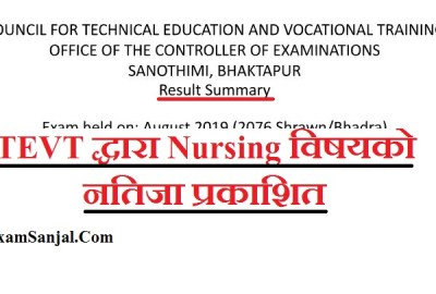 Result of Nursing 2nd Year exam held on 2076 Shrawan/Bhadra by CTEVT ( CTEVT Nursing Result)