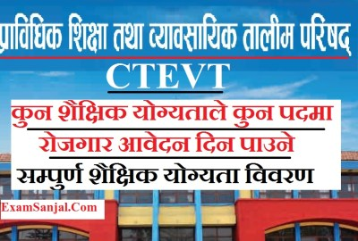 CTEVT Vacancy Notice 2076 Details of Education Qualification for All Post of CTEVT Bigypan
