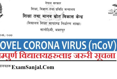 Novel Coronavirus Alert Information for All Schools & Education Sector ( Coronavirus Notice for Nepal)