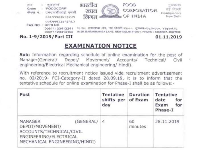 FCI Manager Exam Date