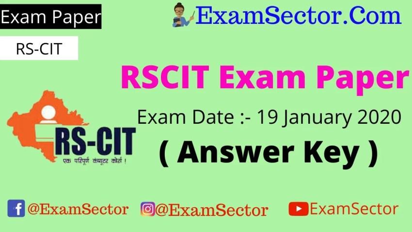 RSCIT Exam Paper 19 January 2020 ( Answer Key ) ,