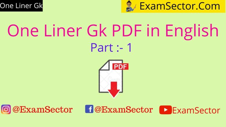 One Liner Gk PDF in English ,