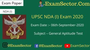 UPSC NDA (I) Exam 2020 - Part - A ( Answer Key )