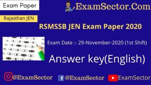 RSMSSB JEN Answer Key 29 November 2020 1st Shift