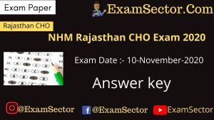 NHM Rajasthan CHO Exam 10 Nov. 2020 Answer Key
