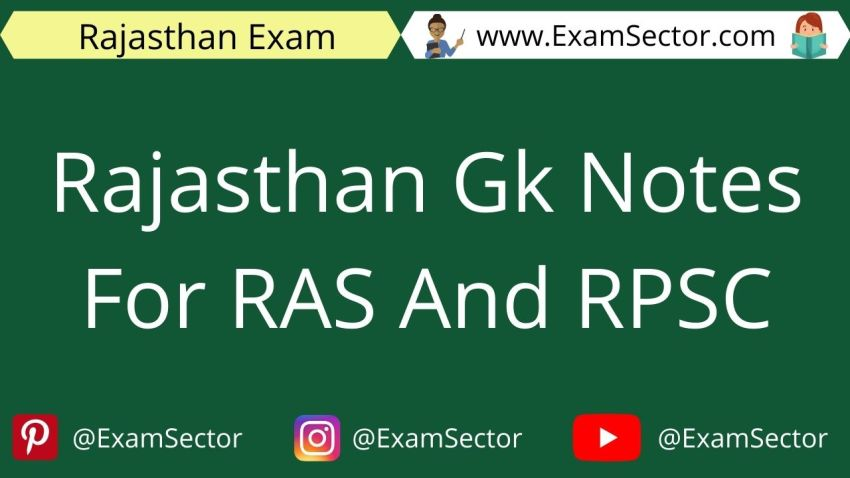 Rajasthan Gk Notes For RAS And RPSC