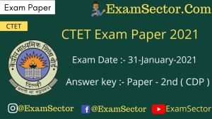 CTET 31 Jan 2021 Paper 2nd (CDP)
