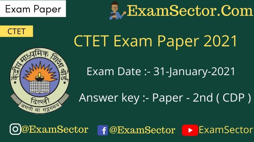 CTET 31 Jan 2021 Paper 2nd (CDP)