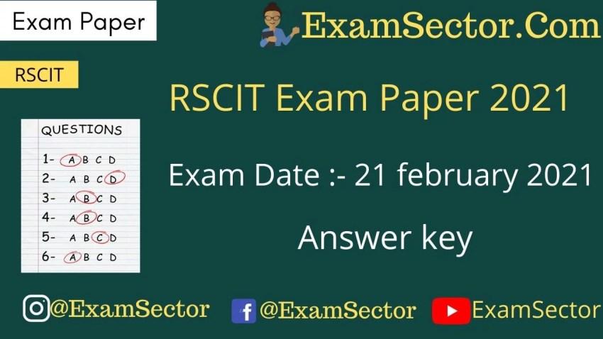 RSCIT 21 february 2021 Exam Paper Answer Key