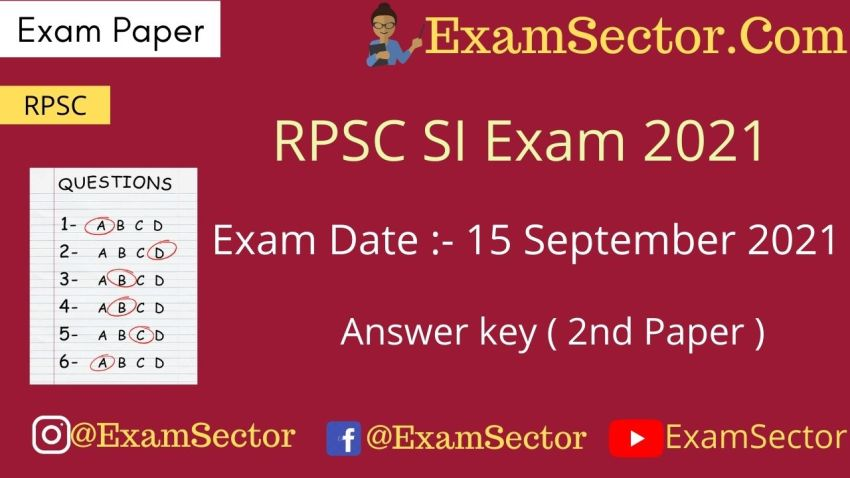 Rajasthan Si Exam Paper 2nd Gk And Gs 15 September 2021