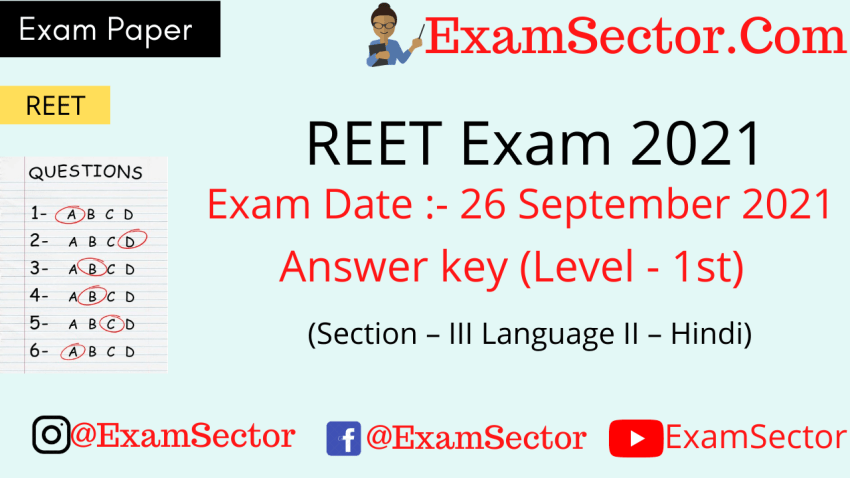 REET Level 1 Exam Paper 26 Sep 2021 (Section – III