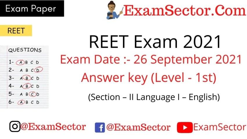 REET Level 1 Exam Paper 26 Sep 2021 Answer Key.