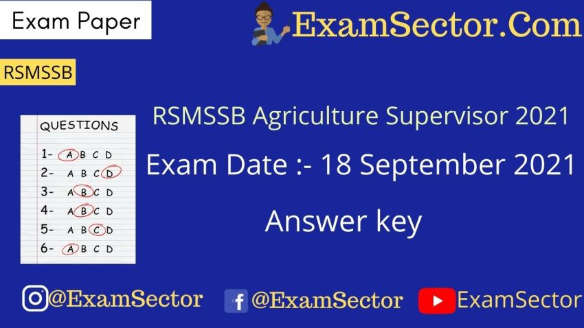 RSMSSB Agriculture Supervisor 18 September 2021