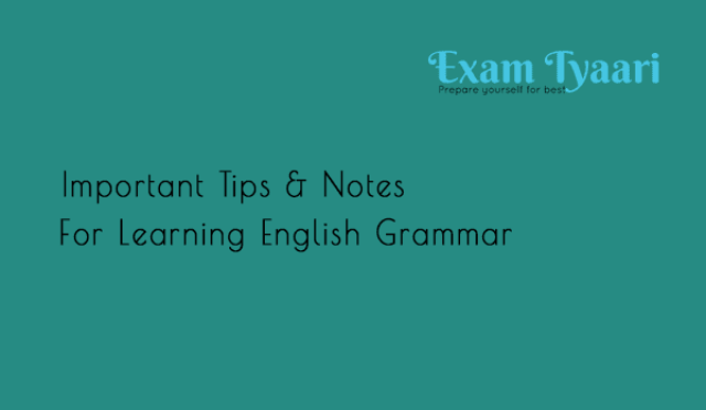 Important Tips and Notes for English Grammar [PDF] - Exam Tyaari