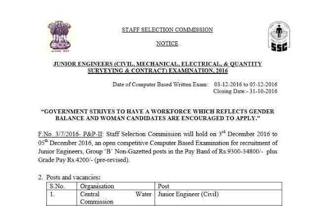 SSC Official: Junior Engineer Examination 2016 Notice with Syllabus- PDF-Exam Tyaari