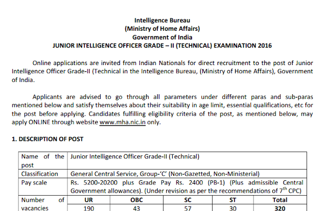 IB Jr. Intelligence Grade-II Officer Recruitment 2016 [APPLY NOW] - 320 Posts - Exam Tyaari