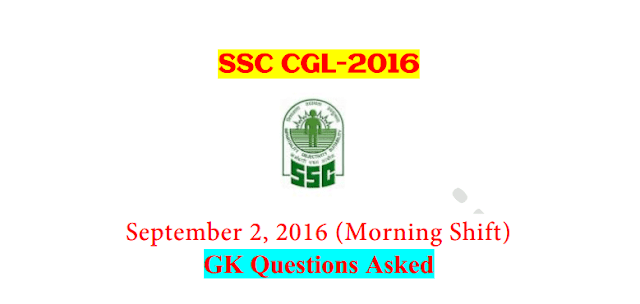 SSC CGL Tier-1 2016 : Questions Asked On 2 September - Morning Shift [PDF] - Exam Tyaari