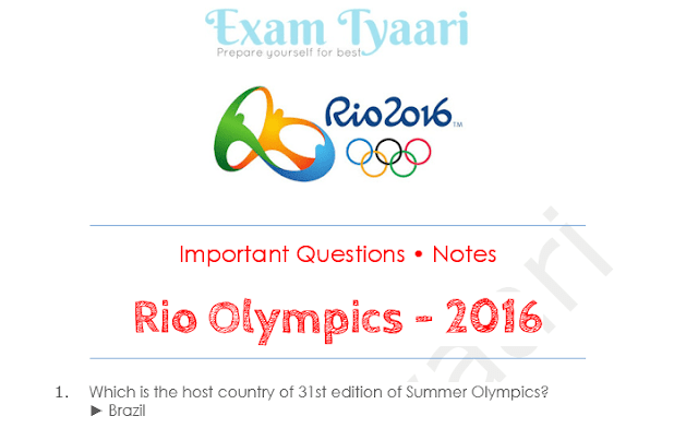 Top Important Questions & Notes from Rio Olympics 2016 for Competitive Exams [PDF]
