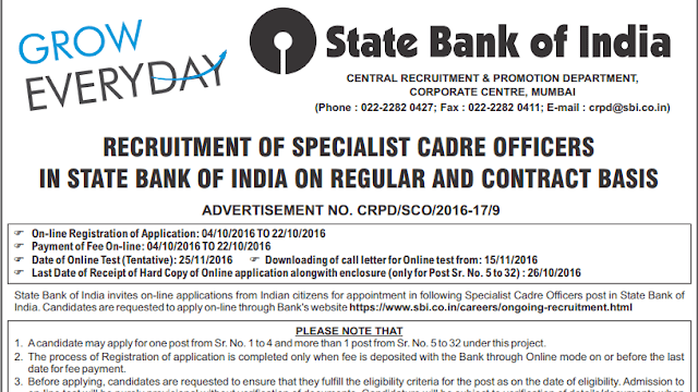 OFFICIAL: SBI Specialist Officer Recruitment 2016 - Check Now - Exam Tyaari