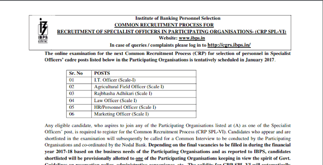IBPS SO 2016 Notification Out for Different Posts.- Exam tyaari