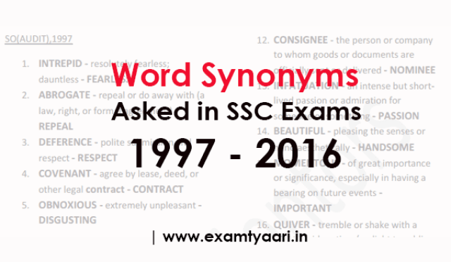 All Important Synonyms Asked in SSC Exams (1997 - 2016) - [PDF] - Exam Tyaari