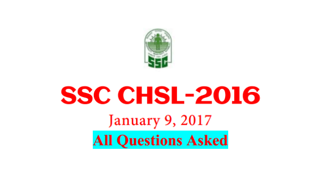 SSC CHSL 2016 (Tier-1) Questions Asked on 9th January [PDF] - Exam Tyaari