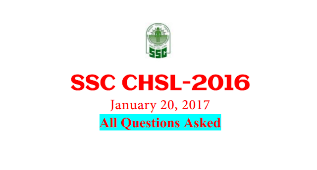 SSC CHSL 2016 (Tier-1) Questions Asked on 20th January [PDF] - Exam Tyaari