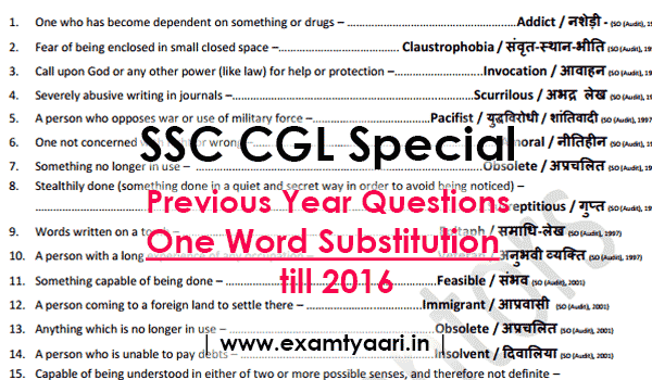 One Word Substitution with HINDI Meaning Asked in SSC Exams