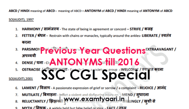 Previous Year Antonyms with HINDI Meaning Asked in SSC Exams till 2016 [PDF] - Exam Tyaari