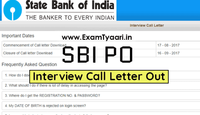 State Bank of India (SBI) PO Interview Call Letter Out - Exam Tyaari