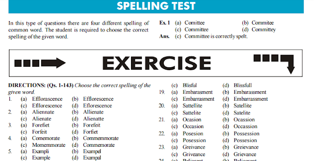 Free English Spelling Practice Test for SSC CGL [PDF] - Download Now
