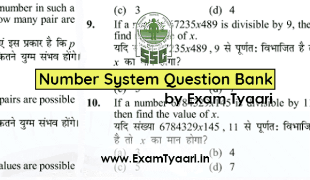 Download Math NUMBER SYSTEM Aptitude Question Bank for SSC CGL TIER-2 [PDF] - Exam tyaari