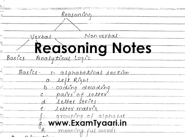 Download Handwritten Reasoning Notes for SSC CGL, CHSL and CPO Exams[PDF] - Exam Tyaari