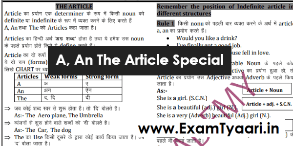 Use of Articles (A, An, The) English Grammar Notes