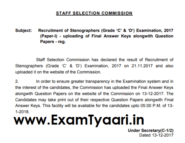 Download SSC Steno (Grade 'C' & 'D') 2017 - FINAL Answer Keys Out - Exam Tyaari