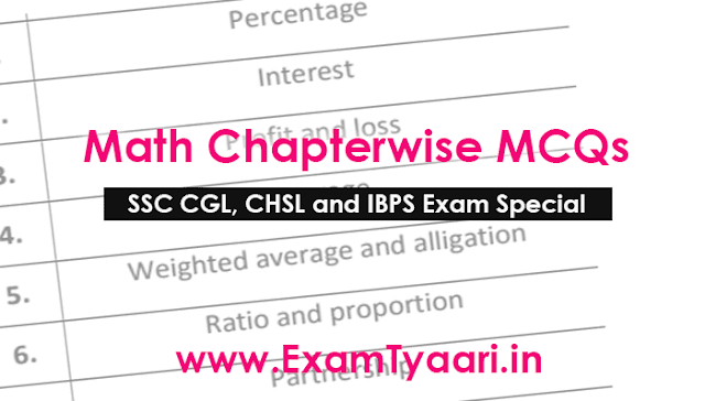 Math MCQ Question Bank for SSC CGL CHSL and IBPS Exams [PDF] - Exam Tyaari