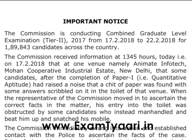 Official Notice: Important SSC Notice for Paper Leak Incident [PDF] - Exam Tyaari