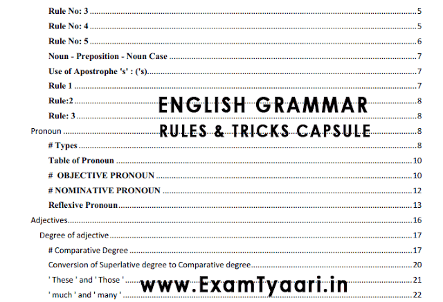 85 Page English Grammar Capsule with Rules and Shortcuts Tricks notes - PDF Download - Exam Tyaari