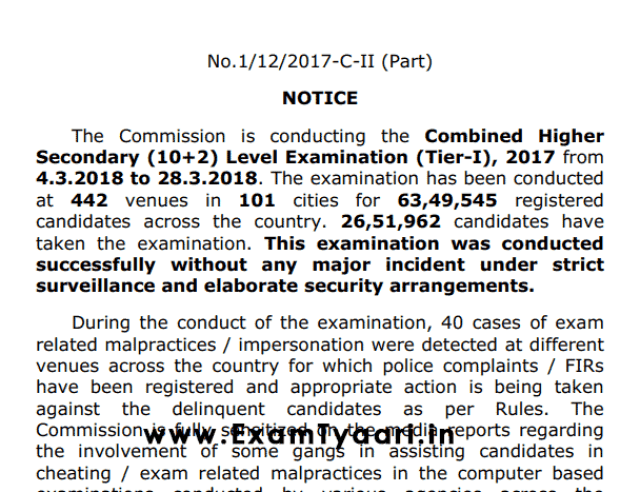 SSC CHSL 2017 Tier-1 Official Notice [PDF] -- Exam Tyaari
