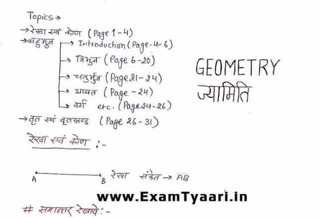 Geometry Math Class Notes in Hindi [PDF Download] - Exam Tyaari