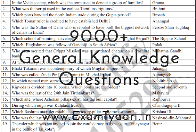 9000 GK GS General Knowledge Questions for SSC CGL, CHSL, RRB, SBI, IBPS [PDF Download] - Exam Tyaari