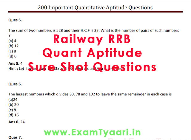 Railway RRB Quantitative Aptitude Sure Shot Questions in Hindi [Download PDF] - Exam Tyaari