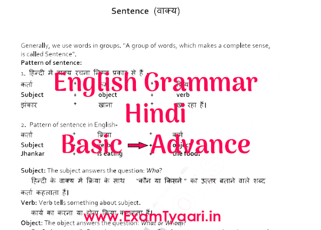 English Grammar PDF Rules by VK Patel in Hindi - Exam Tyaari