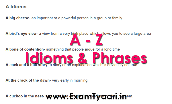 Download A To Z List Of Idioms And Phrases Pdf Exam Tyaari