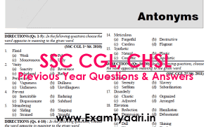 Antonyms SSC CGL Previous Papers Book Free Download PDF - Exam Tyaari
