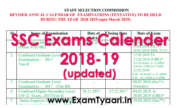 download ssc exam calendar 2018 19 pdf revised exam tyaari